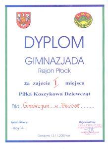 I miejsce w Piłce Koszykowej Dziewcząt- Gimnazjada Rejon Płock -13 XI 2009r.