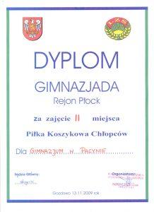 II miejsce w Piłce Koszykowej Chłopców- Gimnazjada Rejon Płock -13 XI 2009r.