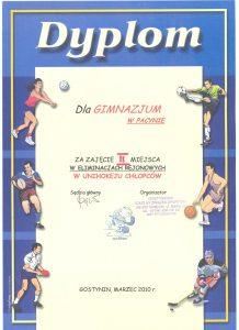 II miejsce w eliminacjach rejonowych w unihokeju chłopców - marzec 2010