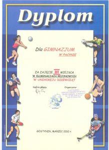 III miejsce w eliminacjach rejonowych w unihokeju dziewcząt - marzec 2010