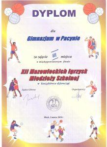 III miejsce w międzypowiatowym finale XII Mazowieckich Igrzysk Młodzieży Szkolnej w koszykówce dziewcząt - 5 marca 2010r.