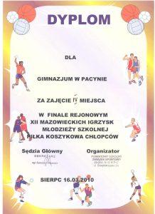 IV miejsce w finale rejonowym XII MAZOWIECKICH IGRZYSK MŁODZIEŻY SZKOLNEJ W PIŁCE KOSZYKOWEJ CHŁOPCÓW -16 marca 2010