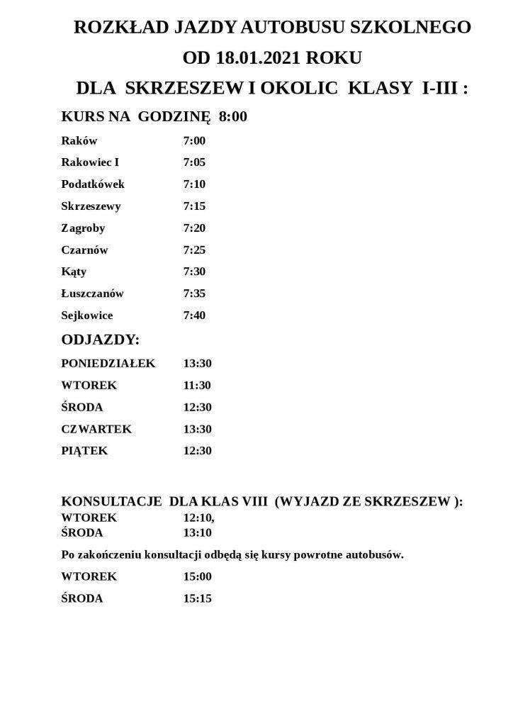 ROZKŁAD JAZDY AUTOBUSU SZKOLNEGO LUSZYN-12